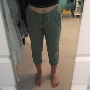 cropped olive green linen joggers